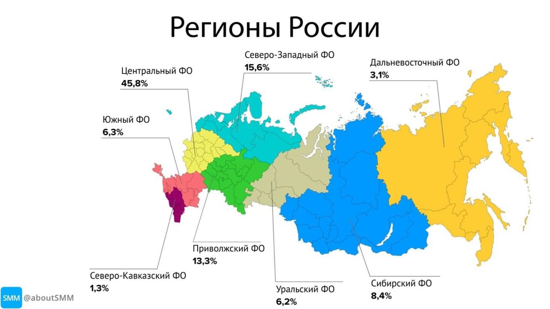 фото: популярность телеграм по регионам